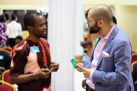Sefik Bagdadioglu MD Kaymu Networking with an SME operator at the Entrepreneurs Club