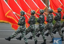 Soldiers are training for China's V-Day military parade in Beijing, July 23, 2015. (Xinhua/Zha Chunming)