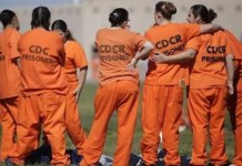 Detained female immigrants at a US detention facility