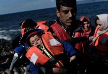 Refugees crossing the Aegean Sea from Turkey