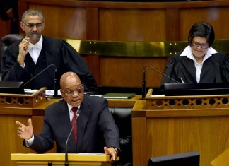 South African President Jacob Zuma (Front) responds to parliamentary questions in Cape Town, South Africa, on Nov. 19, 2015. South Africa engages with all the role players in the Palestinian-Israeli conflict with concerns over the future of Palestine, President Jacob Zuma said during his responding to a parliamentary question about the signing of an agreement between the leadership of Hamas and South Africa's ruling African National Congress (ANC) party in October. (Xinhua/Elmond Jiyane)