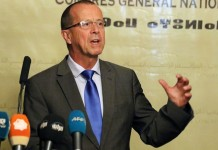 The newly-appointed UN envoy to Libya Martin Kobler addresses a press conference in Tripoli, Libya, on Nov. 22, 2015. The newly appointed UN Special Envoy to Libya Martin Kobler on Saturday met Libya's two rival governments, urging them to continue with the peace dialogue that has been interrupted for a month. (Xinhua/Hamza Turkia)