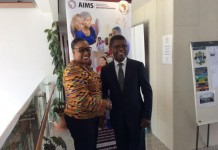 Ms. Oley Dibba-Wadda_ Executive Secretary of ADEA and Mr Thierry Zomahoun_ President and CEO of AIMS at the signing of the MoU in Addis Ababa