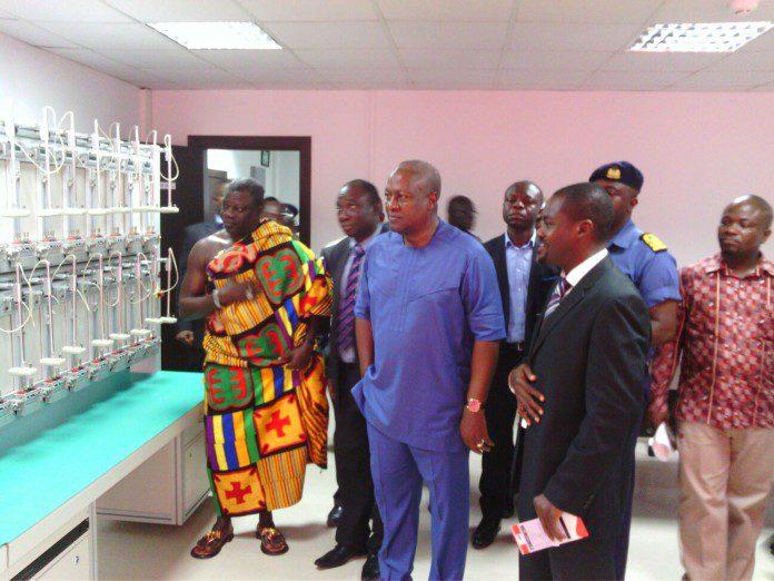 President Mahama touring the facilities at IMES
