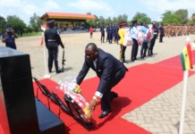 Mr Francis Ganyaglo, Deputy Volta Regional Minister laying a wreath on behalf of the government and the people of Ghana.