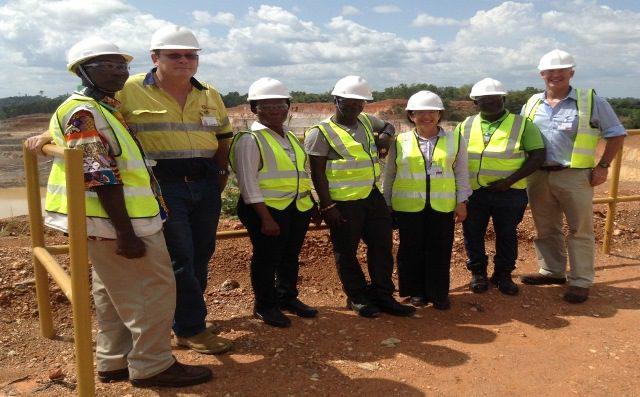 From left: Nii Adjetey-Kofi Mensah, Brent Horochuk (EGM, Perseus), Keren-Happuch Osekre, Okofo (Nana) Twum Barimah V, Moutafis Zabeta, Kwesi Eyia-Mensah and Andrew Barnes (Ag. Australian High Commissioner).