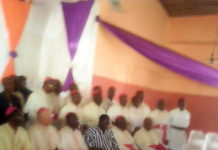 Some of the Bishops and the Deputy UE Regional Minister, Mr Daniel Syme (in smock) at the Conference.