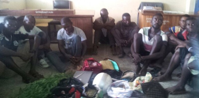 Some of the suspects and the items retrieved