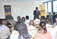 Mr John Awuah, UMB CEO addressing guests at the trade business seminar