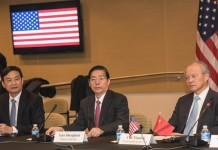 China's State Councilor and Minister of Public Security Guo Shengkun (C) attends the first China-U.S. ministerial dialogue on fighting cyber crimes in Washinton D.C., the United States, on Dec. 1, 2015. The first China-U.S. ministerial dialogue on fighting cyber crimes held here Tuesday yielded positive outcomes as the two sides worked hard to remove one of the major stumbling blocks to the development of the bilateral ties. (Xinhua/Bao Dandan)
