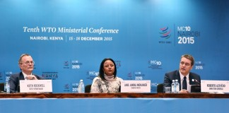 Kenyan Foreign Minister and Chair of the 10th World Trade Organization (WTO) Ministerial Conference Amina Mohamed (C), Director-General of WTO Roberto Azevedo (R) and WTO spokesman Keith Rockwell attend the opening press conference ahead of the opening ceremony of the 10th WTO Ministerial Conference in Nairobi, Kenya, Dec. 15, 2015. (Xinhua/Sun Ruibo) (djj)