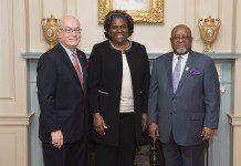 U.S. Ambassador to Ghana Robert P. Jackson, Assistant Secretary of State for African Affairs Linda Thomas-Greenfield, Ghana's Ambassador to the United States Lieutenant General Joseph Henry Smith