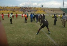 The two sides Kumasi Asanti Kotoko in red jersey and AshantiGold in Yellow jersey during the SIC SWAG Cup.