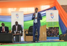 The Deputy Executive Director of CMA, Eric Bundugu while addressing 3,000 youth from across Rwanda