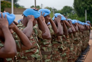 Forces of the UN Peacekeeping mission in Mali receive their blue berets in Bamako. Photo: MINUSMA/Blagoje Grujic