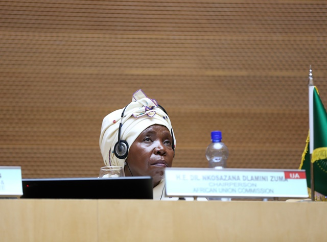 Nkosazana Dlamini-Zuma, Chairperson of the AU Commission, attends the 26th AU summit in Addis Ababa, capital of Ethiopia, on Jan. 30, 2016. The 26th ordinary session of the African Union (AU) heads of states and governments kicks off on Saturday at the AU Headquarters in Addis Ababa. (Xinhua/Pan Siwei)