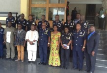 group picture of NDPC executives and the Ghana Police Servic