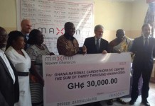 Maxam Directors presenting cheque to Cardio Executives