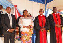 From right Rt.Rev. Dr. Ofori, Moderator, Rev. Attih, Synod Clerk, Mrs Bobobee, Female Presbyter and Professor Adosraku, Male Presbyter