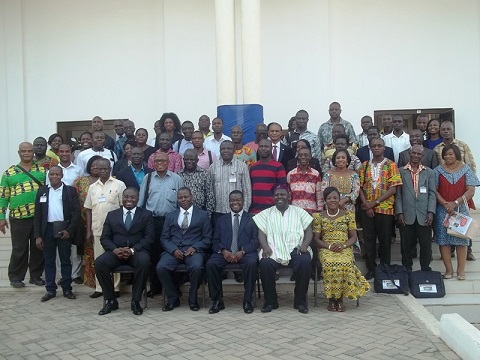 Dr Isaac O. K. Barnor Jr (seated1st left) in a group photo with dignitaries and participants at the New Year School