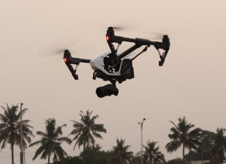 A drone in operation at the Accra Trade Fair Centre