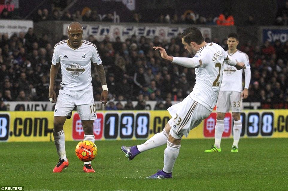 Andre Ayew watches on Swansea score opener from a free kick