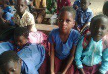 Some of the children in kindergarten