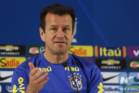 Brazil's national soccer team coach Dunga takes part in a press conference at the Arena Corinthians Stadium in Sao Paulo, Brazil, Nov. 11, 2015. (Xinhua/Rahel Patrasso)