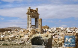 A picture shows on March 29, 2016 the remains of the Temple of Bel in the historical city of Palmyra after ir was blown up by Islamic State (IS) group. (Xinhua/AFP Photo)