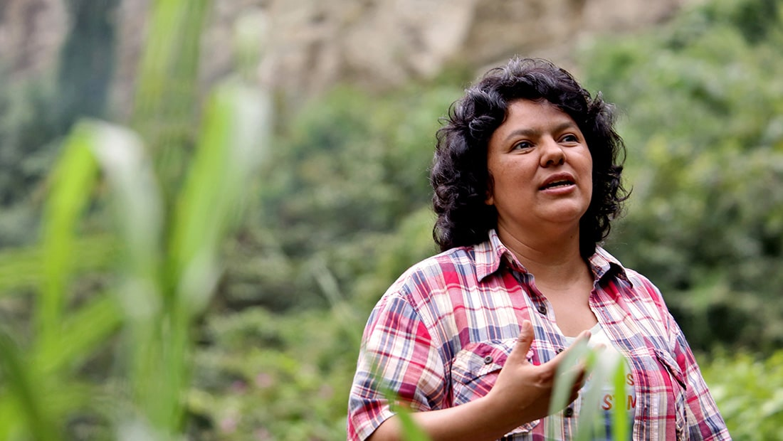 Berta Cáceres, environmental activist and head of the indigenous rights group COPINH.