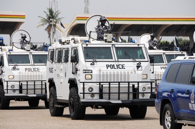 Ghana are seen inside police vehicles during Ghana's 59 Independence Day celebration at the Independence Square in Accra, capital of Ghana, March 6, 2016. British colony Gold Coast declared her independence on March 6, 1957 and renamed herself Ghana. (Xinhua/Lin Xiaowei)