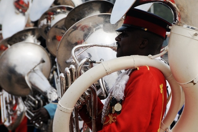 A member of Ghana's military band plays a musical instrument during Ghana's 59 Independence Day celebration at the Independence Square in Accra, capital of Ghana, March 6, 2016. British colony Gold Coast declared her independence on March 6, 1957 and renamed herself Ghana. (Xinhua/Lin Xiaowei)