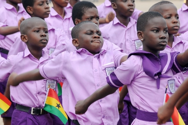 Primary school pupils march during Ghana's 59 Independence Day celebration at the Independence Square in Accra, capital of Ghana, March 6, 2016. British colony Gold Coast declared her independence on March 6, 1957 and renamed herself Ghana. (Xinhua/Lin Xiaowei)