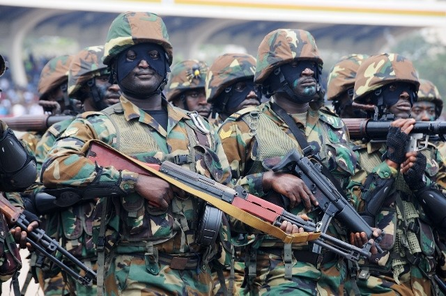 Ghana Armed Forces march during Ghana's 59 Independence Day celebration at the Independence Square in Accra, capital of Ghana, March 6, 2016. British colony Gold Coast declared her independence on March 6, 1957 and renamed herself Ghana. (Xinhua/Lin Xiaowei)
