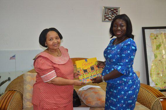 South African High Commissioner to Ghana, Mrs Lulama Zingwama with Ofosu Adjare