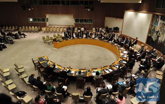 The UN Security Council vote on a resolution regarding the nuclear test of the Democratic People's Republic of Korea (DPRK), at the UN headquarters in New York, the United States, on March 7, 2013. [Photo/Xinhua]