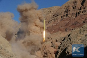 A ballistic missile is launched and tested in an undisclosed location, Iran, March 9, 2016. [Photo/Xinhua]