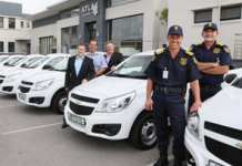 FINDING NEW ROADS: Atlas Security in Port Elizabeth boosted their growing fleet with nine brand new Chevrolet Utility bakkies. Present at the delivery of the vehicles are Atlas Security Armed Response Manager Conrad Cloete, (front left) and Atlas Security Operations Manager Monty Montgomery with Craig Kerr (back left), Atlas General Manager, Wilhelm Muller, Williams Hunt New Vehicle Sales Manager (middle) and Trevor Villet, Williams Hunt General Manager.