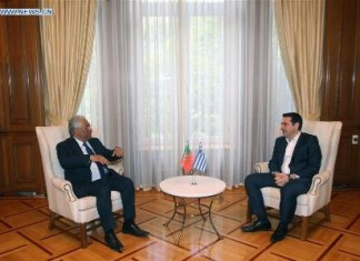 ATHENS, April 11, 2016 (Xinhua) -- Greek Prime Mnister Alexis Tsipras (R) meets with Portuguese Prime Minister Antonio Costa in the Maximos Mansion in Athens, Greece, April 11, 2016. (Xinhua/Marios Lolos)