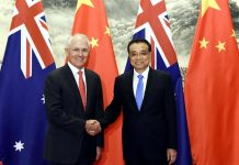 BEIJING, April 14, 2016 (Xinhua) -- Chinese Premier Li Keqiang (R) meets with Australian Prime Minister Malcolm Turnbull during the fourth annual talks between the two countries' prime ministers in Beijing, capital of China, April 14, 2016. Turnbull is paying his first official visit to China since taking office in September 2015, with a large business delegation. (Xinhua/Rao Aimin)