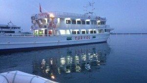 The first ferry carrying deportees left the port of Mytilene