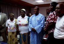 Alex Segbefia in a group photograph with the delegation of older persons.JPG21488