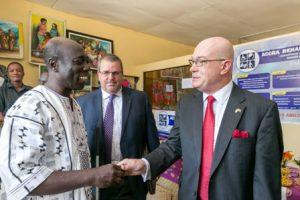 Ambassador Robert Jackson, USAID Director Andy Karas with Yaw Debra, President of the Ghana Federation of Disability Organizations