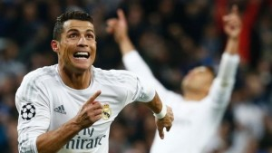 Cristiano Ronaldo celebrates scoring his hat-trick