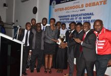 GIMPA Faculty of Law students jubilating with Mr Kwasi Appiah Okrah (4th right) and Ms Nahaja Adam (5th right)