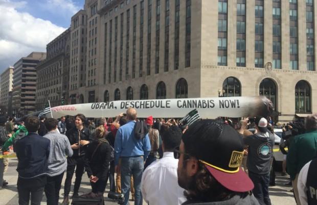 Marijuana activists puff away near White House