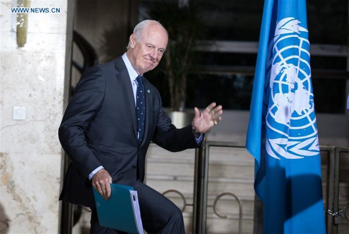 The UN Special Envoy for Syria Staffan de Mistura arrives for a press conference after meeting with the delegation of the High Negotiations Committee (HNC) in Geneva, Switzerland, April 13, 2016. The UN Special Envoy for Syria Staffan de Mistura said Wednesday that the second round of proximity talks aiming to broker a political end to the Syrian crisis had started. (Xinhua/Xu Jinquan)