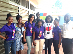 From left, some participants of the maiden edition of DigiGirlz Day and some of the mentors and facilitators with Lucy Quist at the event.