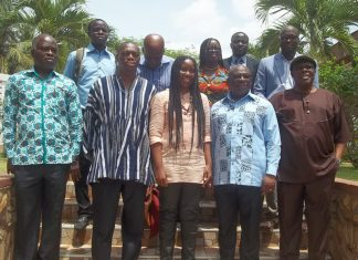 Dignitary (R to L on front row) Mr Kwasi Gyan-Apenteng, Mr Edward Ato Sarpong and Professor Ama de-Graft Aikins in a group photo