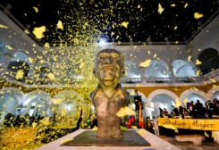 AFP / Luis Acosta A memorial to Colombian writer and Nobel laureate Gabriel Garcia Márquez (1927-2014) in the former La Merced monastery where his ashes have been buried, in Cartagena, Colombia, on May 22, 2016